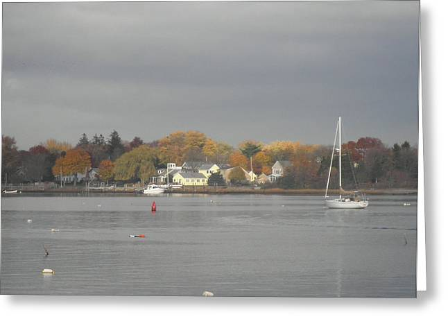 Kate Gallagher Greeting Cards - Cloudy Autumn Day On Wickford Harbor Greeting Card by Kate Gallagher