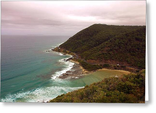 Foggy Beach Greeting Cards - Cloudy Day Along the Great Ocean Road #2 Greeting Card by Stuart Litoff