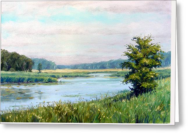 Plain Air Artist Greeting Cards - Cloudy day along the river Greeting Card by Rick Hansen