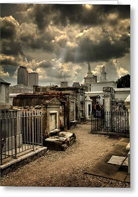 Historic Site Greeting Cards - Cloudy Day at St. Louis Cemetery Greeting Card by Chrystal Mimbs