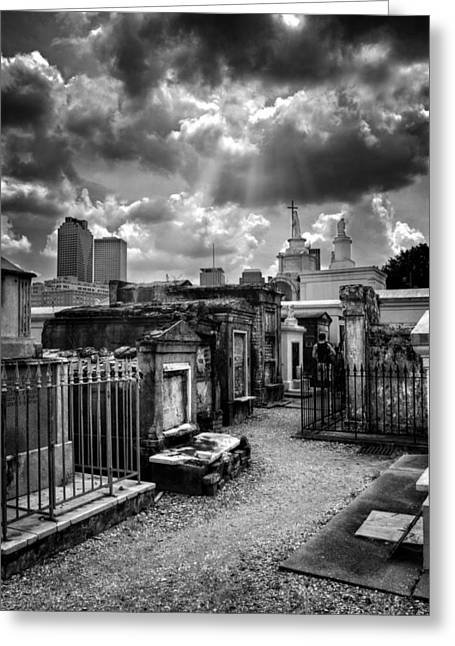 Historic Site Greeting Cards - Cloudy Day at St. Louis Cemetery in Black and White Greeting Card by Chrystal Mimbs