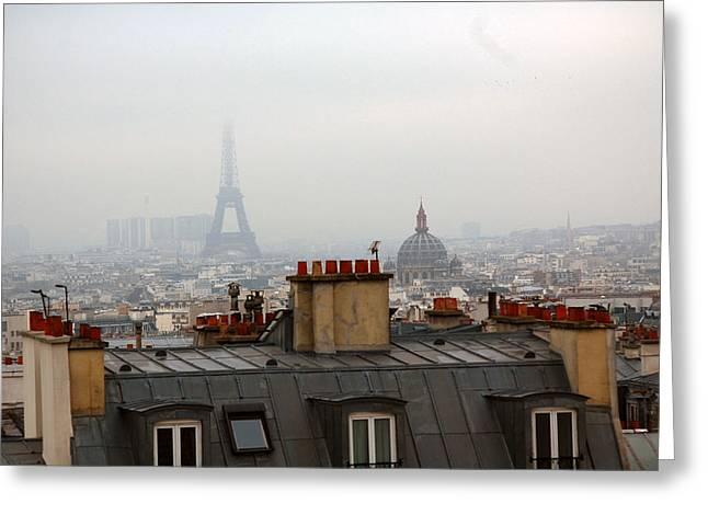 Rooftop Photographs Greeting Cards - Cloudy day in Paris Greeting Card by Peter Cassidy