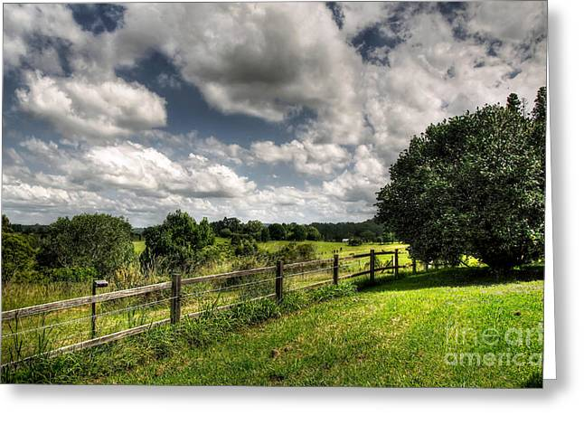 Lush Green Greeting Cards - Cloudy Day in the Country Greeting Card by Kaye Menner