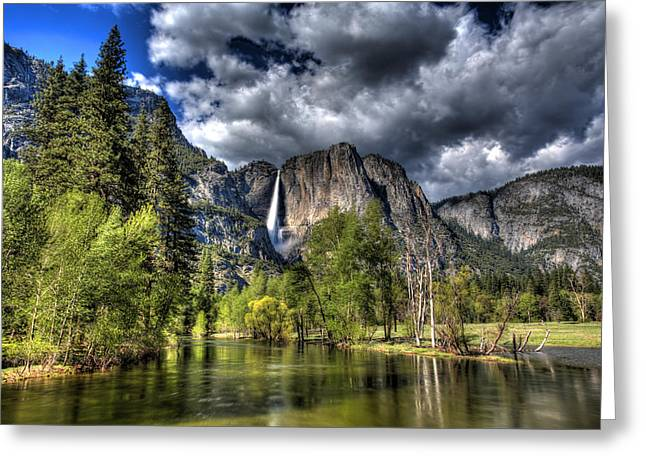 Bridalveil Falls Greeting Cards - Cloudy Day in Yosemite Greeting Card by Shawn Everhart