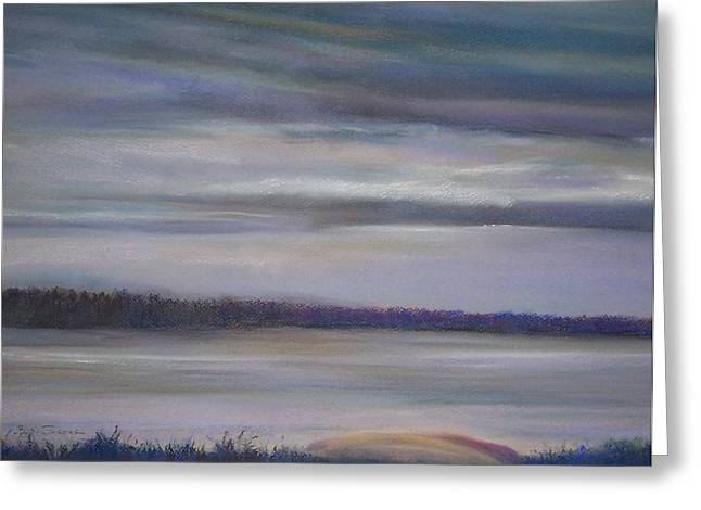 Canoe Pastels Greeting Cards - Cloudy Day on North Bay  Greeting Card by Jackie Bush-Turner