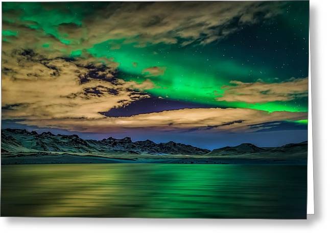 Color Green Greeting Cards - Cloudy Evening With Aurora Borealis Or Greeting Card by Panoramic Images