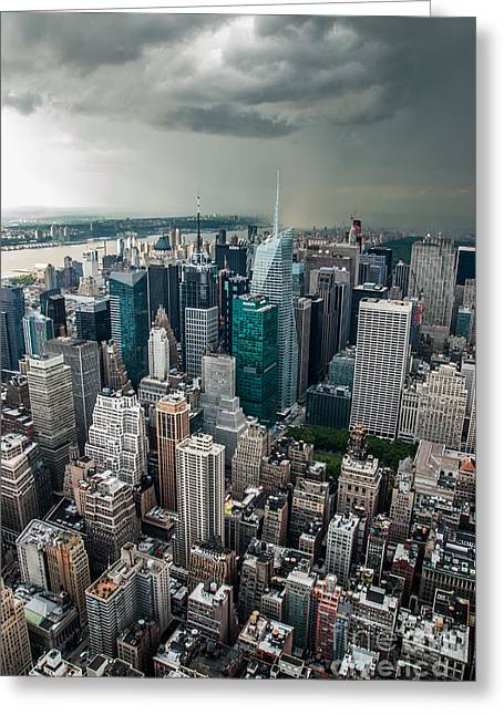 cloudy Manhattan Greeting Card by Hannes Cmarits
