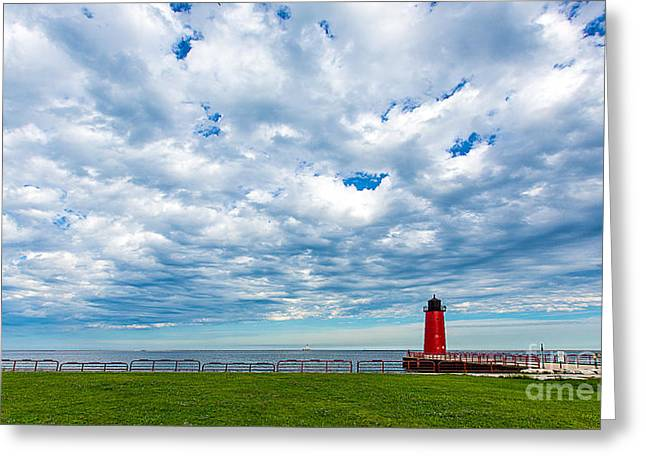 Blue Green Wave Greeting Cards - Cloudy Milwaukee Harbor Greeting Card by Andrew Slater