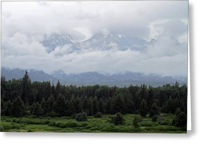 Teton Greeting Cards - Cloudy Mountains Greeting Card by Mike Podhorzer