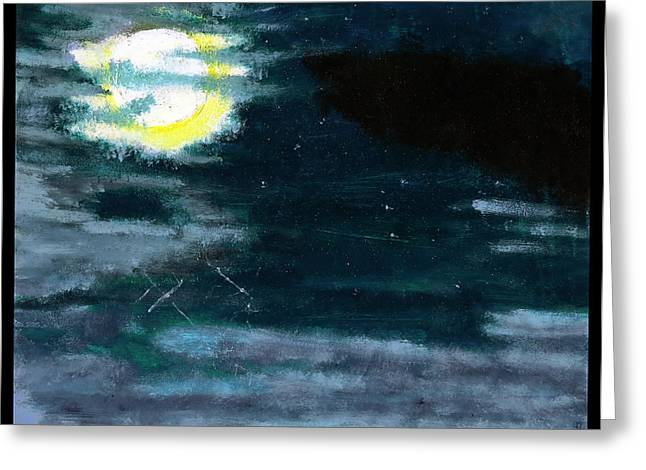 Images Lightning Paintings Greeting Cards - Cloudy Night Sky Greeting Card by Shawn Dall