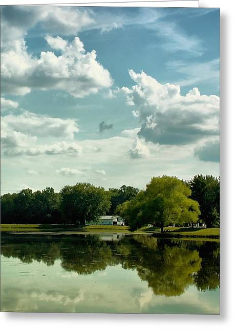 Cloudy Reflections Greeting Card by Kim Hojnacki