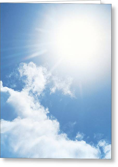 Cumulus Clouds Greeting Cards - Cloudy Sky, Lens Flare Greeting Card by Panoramic Images