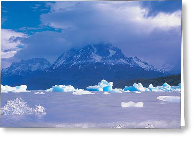 Grey Clouds Greeting Cards - Cloudy Sky Over Mountains, Lago Grey Greeting Card by Panoramic Images