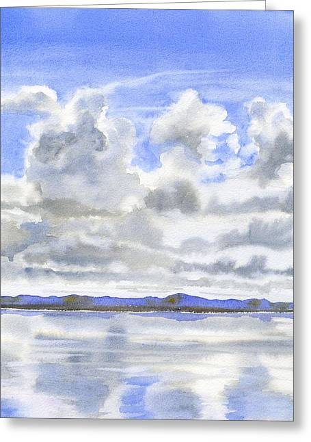 Clouds Greeting Cards - Cloudy Sky with Reflections Greeting Card by Sharon Freeman