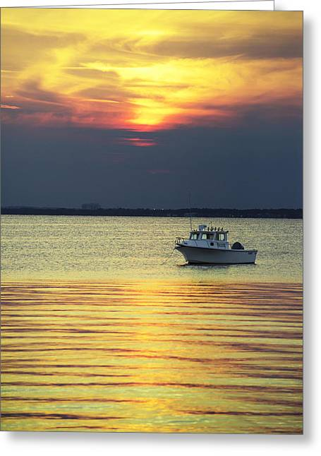 Boating Greeting Cards - Cloudy Sunset Greeting Card by Alida Thorpe