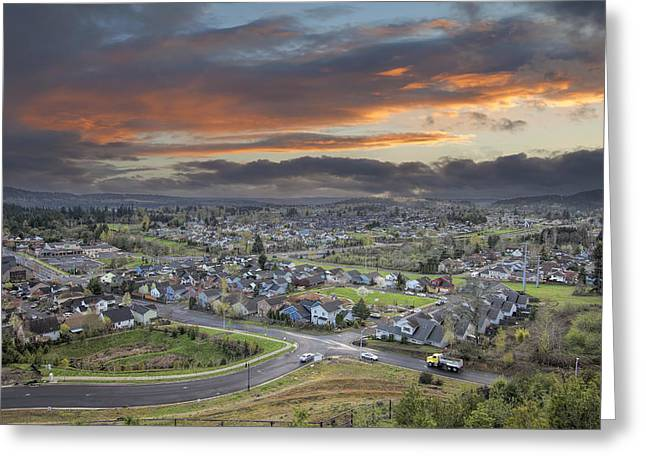 Cloudy Sunset Over America Suburban Residential Town Greeting Card by JPLDesigns