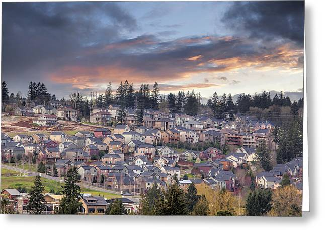 Cloudy Sunset Over North America Suburban Residential Subdivisio Greeting Card by JPLDesigns