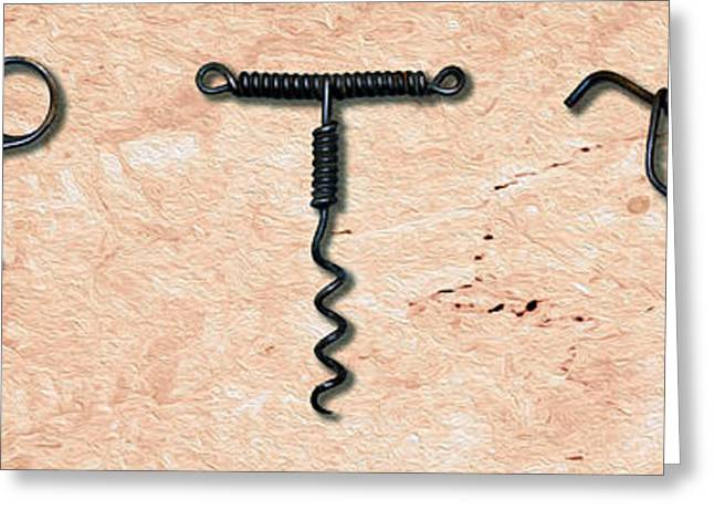 Cabernet Sauvignon Mixed Media Greeting Cards - Clough Single Wire Corkscrews Painting Greeting Card by Jon Neidert
