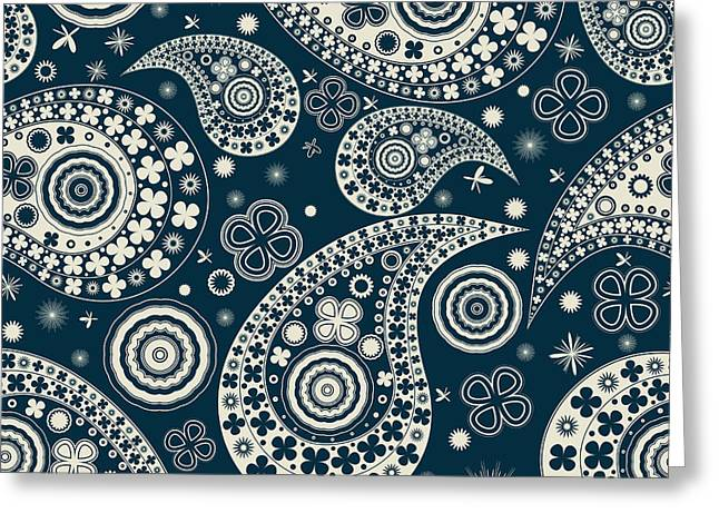 Paisley Blue Fabric Greeting Cards - Clover seamless paisley pattern Greeting Card by Richard Laschon