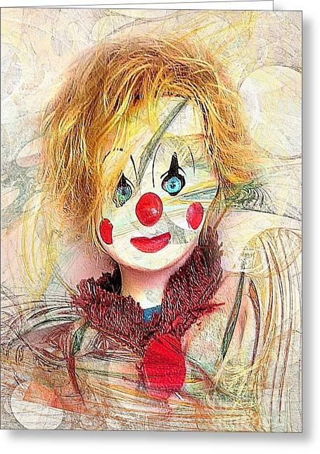 Circus Graphics Greeting Cards - Clown 394-08-13 marucii Greeting Card by Marek Lutek
