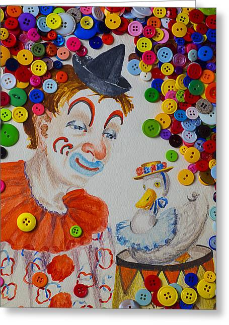Clown And Duck With Buttons Greeting Card by Garry Gay