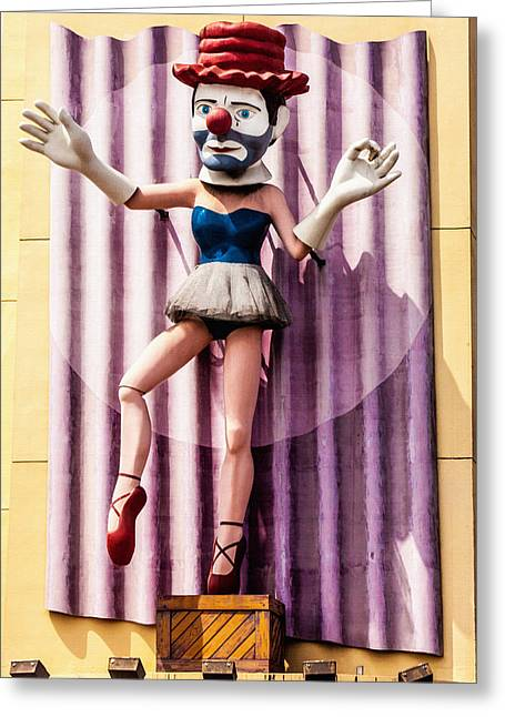 Quirky Greeting Cards - Clown Building Greeting Card by Art Block Collections