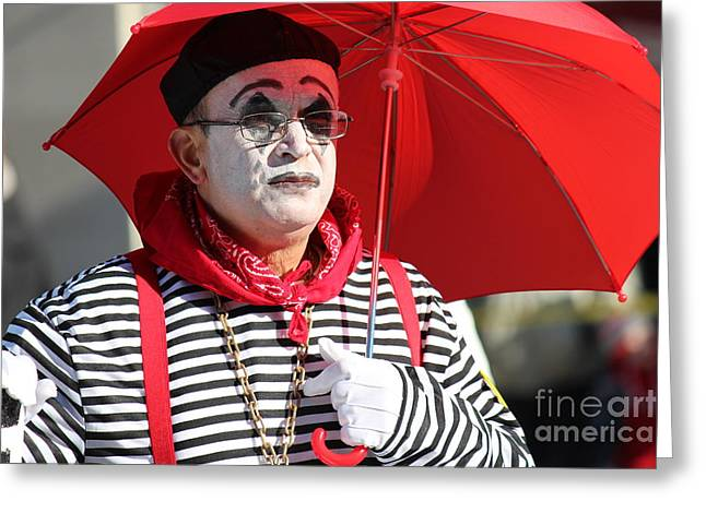Philadelphia Brigade Greeting Cards - Clown Covered Scholar Greeting Card by Lauren Larrieu