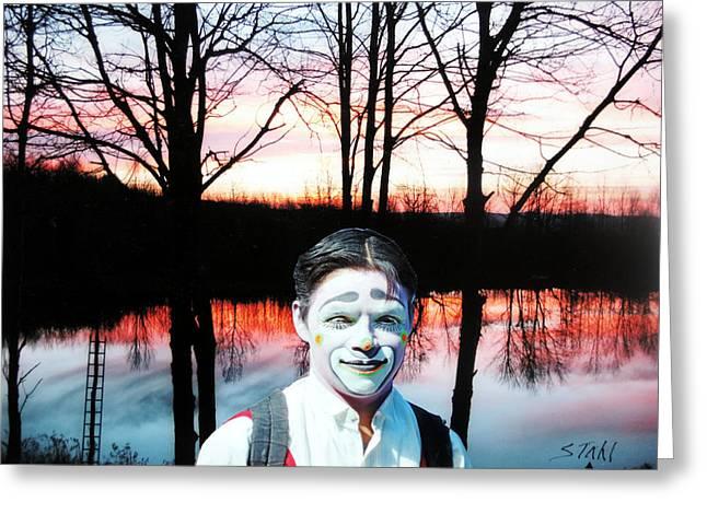 Clown Greeting Card by Dennis Stahl