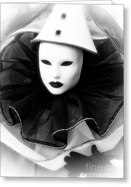 Clown Black And White. Greeting Cards - Clown Dreams Greeting Card by John Rizzuto