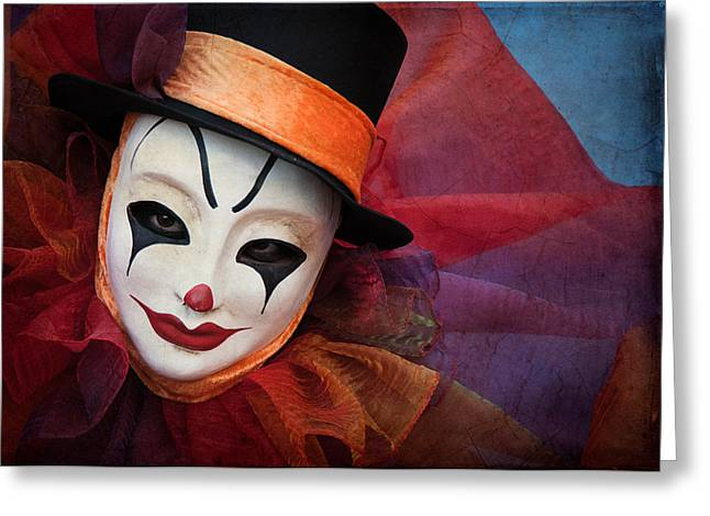 Portrait Of Evil Greeting Cards - Clown Face Greeting Card by Zina Zinchik