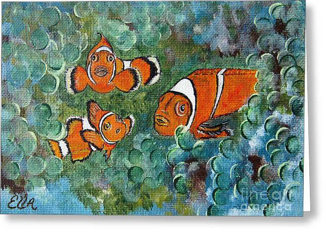 Underwater Photos Paintings Greeting Cards - Clown Fish Art original tropical painting Greeting Card by Ella Kaye Dickey