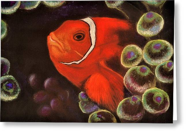 Exotic Pastels Greeting Cards - Clown Fish in Hiding  Pastel Greeting Card by Antonia Citrino