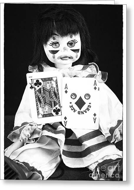 Clown Black And White. Greeting Cards - Clown Games Greeting Card by John Rizzuto