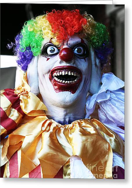 Scary Clown Greeting Cards - Clown Greeting Card by John Rizzuto