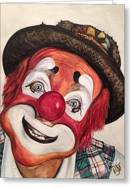 Clown Art Greeting Cards - Clown Jonathan Freddies Greeting Card by Patty Vicknair