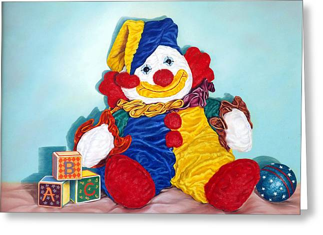 Ball Room Paintings Greeting Cards - Clown Greeting Card by Linda Becker