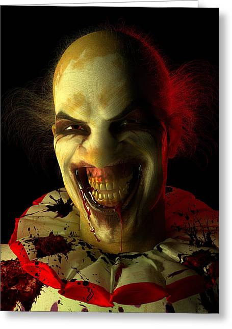 Recently Sold -  - Creepy Digital Art Greeting Cards - Clown Greeting Card by Matt Lindley