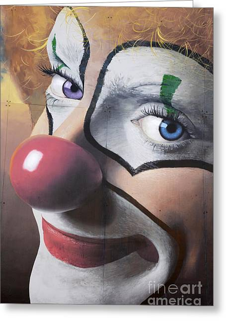 Clown Mural Greeting Card by Bob Christopher