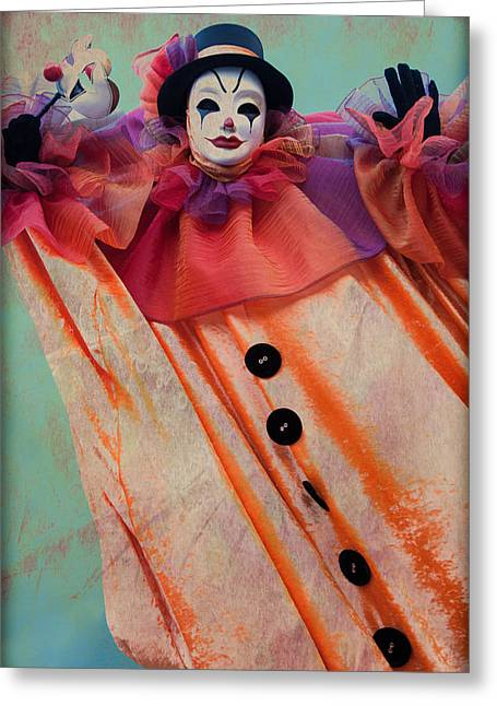 Scary Clown Greeting Cards - Clown of Venetian Carnival Greeting Card by Zina Zinchik