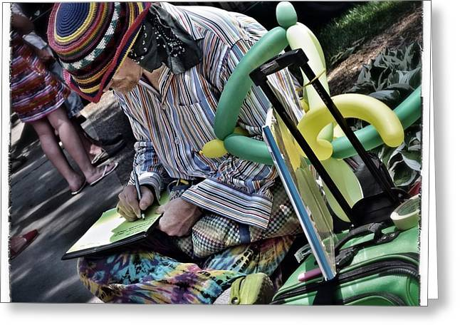 Balloon Pyrography Greeting Cards - Clown on coffee break. Greeting Card by Robert Walicki