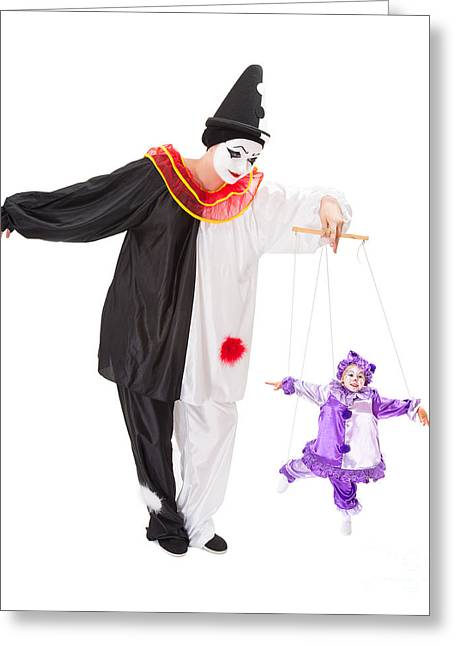 Jesters Puppet Greeting Cards - Clown on strings Greeting Card by Anneke Schram