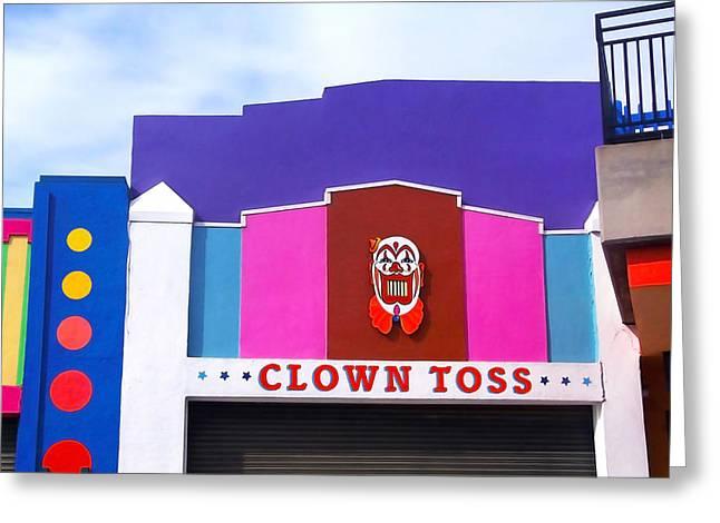 Santa Cruz Art Greeting Cards - Clown Toss Greeting Card by Art Block Collections