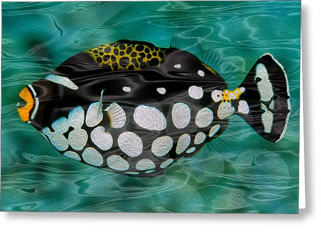 Sea Life Digital Art Greeting Cards - Clown Triggerfish Greeting Card by Jack Zulli