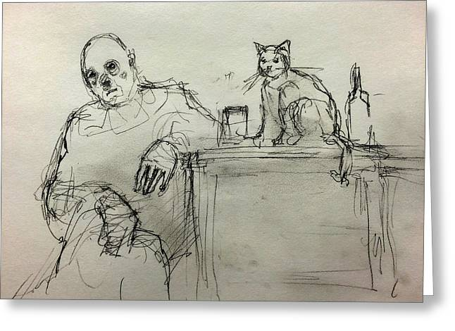 Depression Drawings Greeting Cards - Clown with Cat and Whiskey Greeting Card by H James Hoff