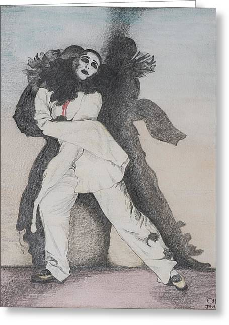 Clown Greeting Cards - Clown With Shadows, 1993 Pencil On Paper Greeting Card by Carolyn Hubbard-Ford