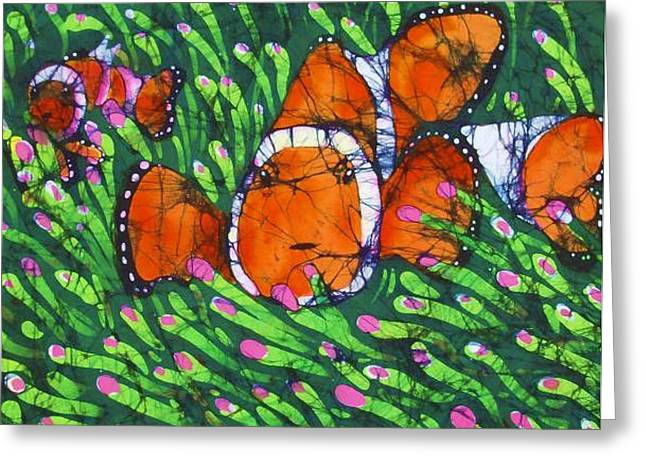 Fine Art Tapestries - Textiles Greeting Cards - Clownfish II Fine Art Batik Greeting Card by Kay Shaffer