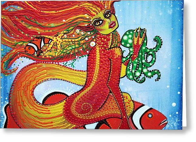 Underwater.saltwater Greeting Cards - Clownfish Mermaid Greeting Card by Laura Barbosa