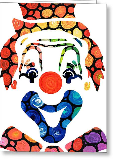 Nursery Mixed Media Greeting Cards - Clownin Around - Funny Circus Clown Art Greeting Card by Sharon Cummings