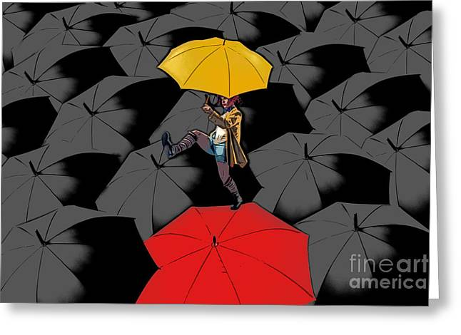 Umbrella Greeting Cards - Clowning on Umbrellas 01 - a11 Greeting Card by Variance Collections