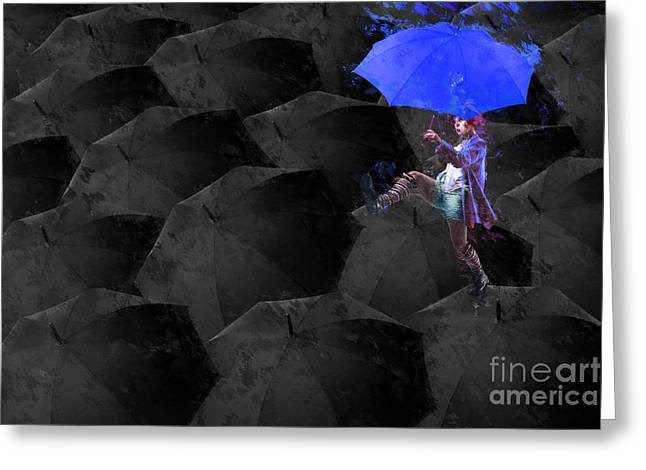 Blue Umbrella Greeting Cards - Clowning on Umbrellas 02 - a02- Blue Greeting Card by Variance Collections